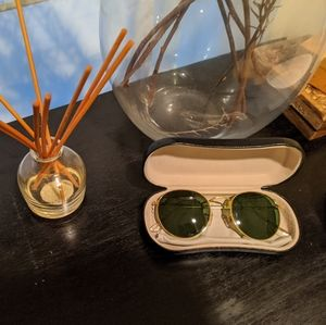 Anthropologie Gold Rimmed Round Sunglasses
